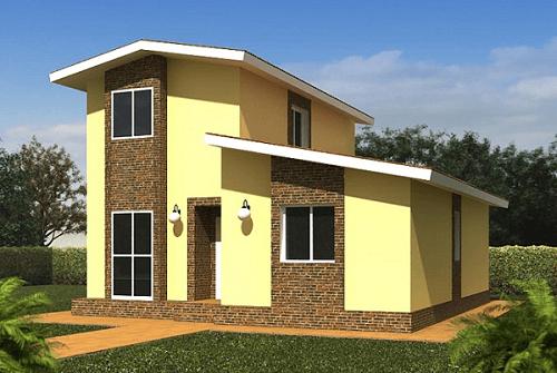 Fachadas de casas dise adas con autocad en 3d fachadas for Casas modernas normales