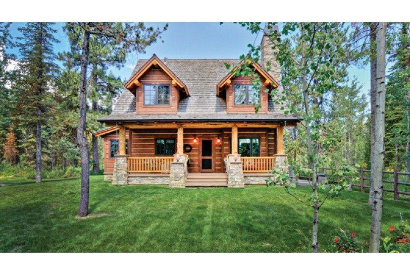 Caba a de campo en madera de dos plantas fachada y plano - Chimeneas rusticas para casas de campo ...