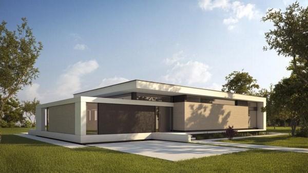 Casas modernas de una planta fachadas de casas for Casas modernas de una planta