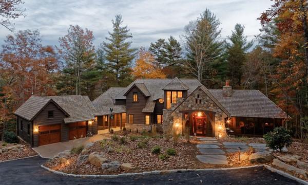Elegantes chalets de piedra parte 2 fachadas de casas - Chalet de madera y piedra ...