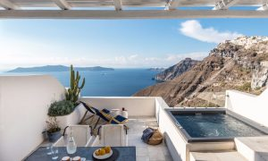 Porto Fira Suites: Casa de vacaciones en Grecia con diseño y formas Orgánicas tipo Endless Blue