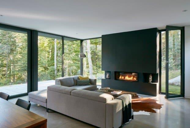 Una moderna chimenea para el invierno